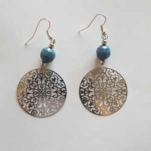 Jewelry - Dangle Earrings with Blue Bead and Silver Circle